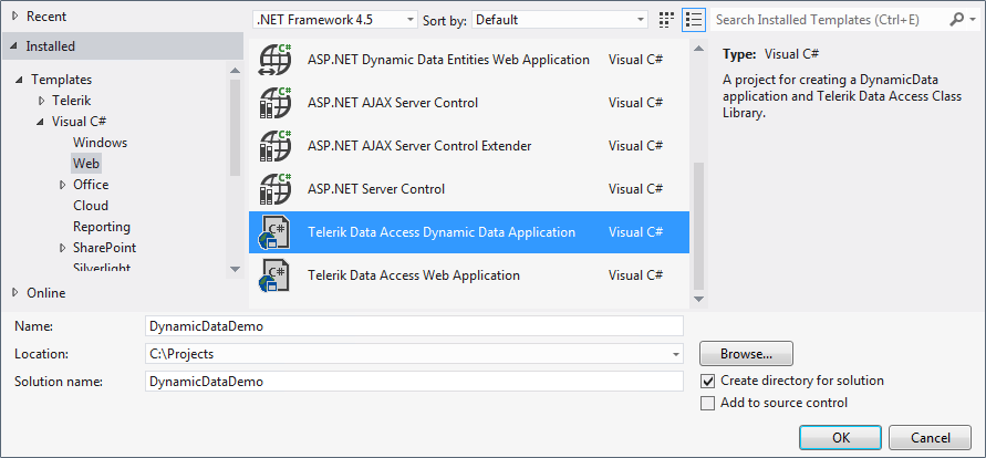 How to: Create a New Dynamic Data Web Application