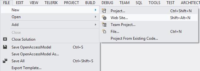 Using Telerik Data Access Project Templates - Website code template