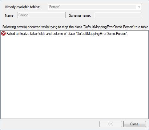 Error validating the default for column