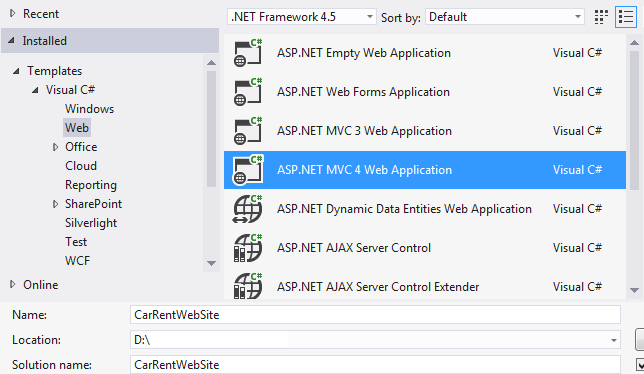 Creating The New MVC Solution