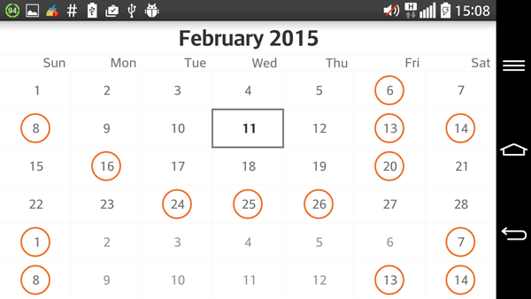 RadCalendarView Selection | Telerik UI for Android Documentation