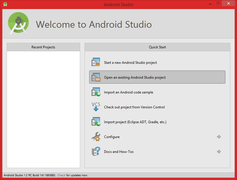 how to get app screen android studio