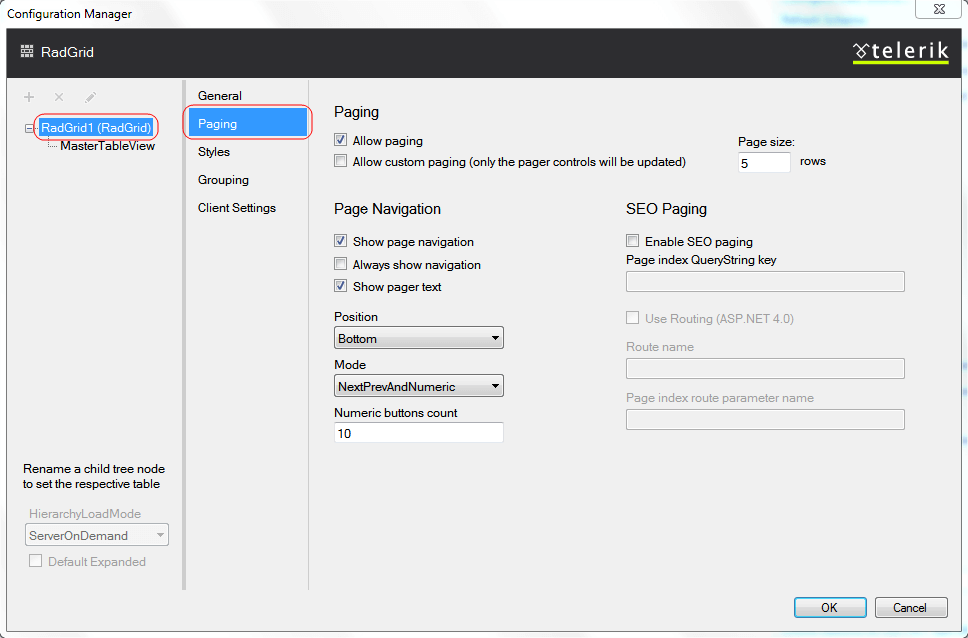 Setting Paging from Design Time | RadGrid for ASP NET AJAX