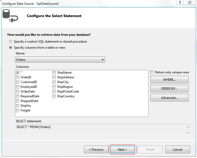 Configure Select Statement
