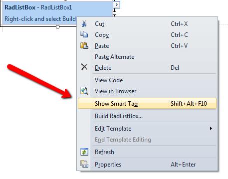 Smart Tag | RadListBox for ASP NET AJAX Documentation | Telerik UI
