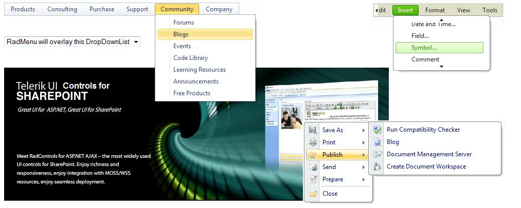 Overview | RadMenu for ASP NET AJAX Documentation | Telerik