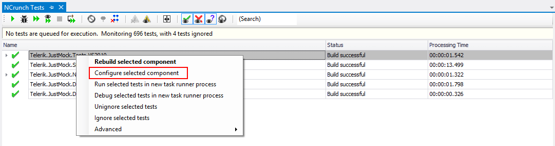 NCrunch Click On ConfigureSC