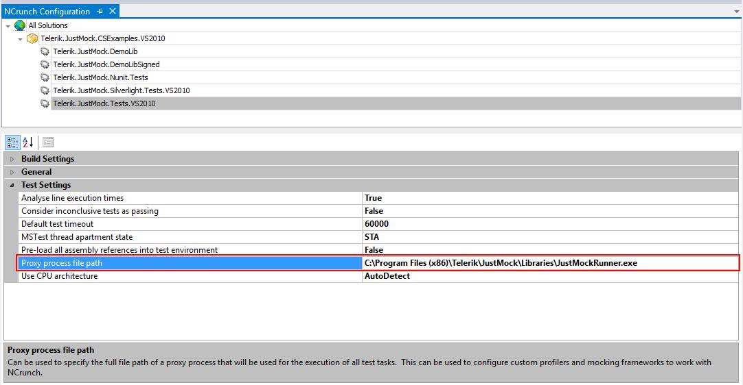 NCrunch Proxy Process File Path