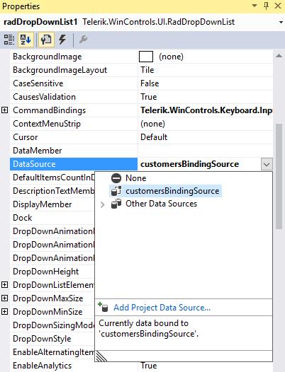 Data Binding | RadDropDownList | Telerik UI for WinForms