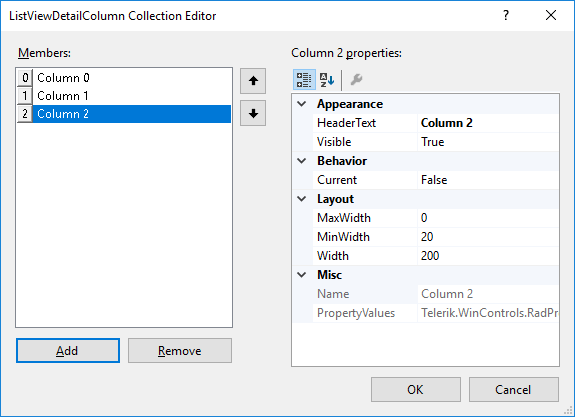 Adding columns | RadListView | Telerik UI for WinForms