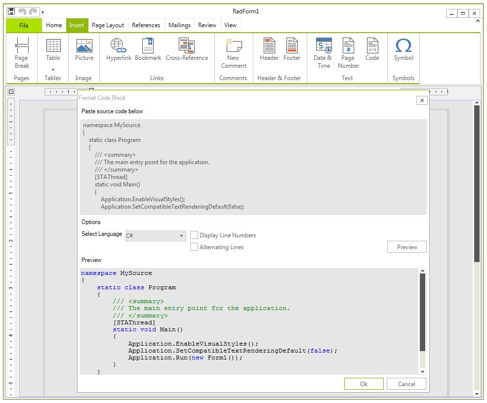 Code Block | RadRichTextEditor | Telerik UI for WinForms