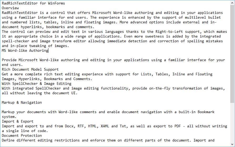Plain Text | RadRichTextEditor | Telerik UI for WinForms