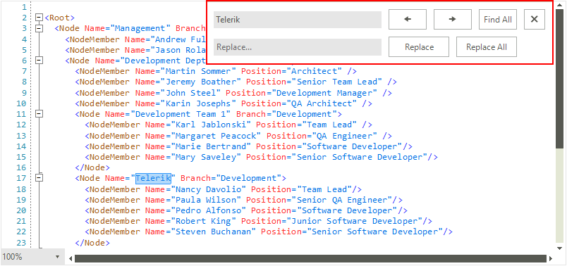Find and Replace   RadSyntaxEditor   Telerik UI for WinForms