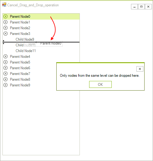 Cancel a Drag and Drop Operation | RadTreeView | Telerik UI for WinForms