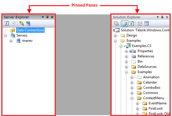 Pinned/Unpinned Panes | Telerik UI for WPF