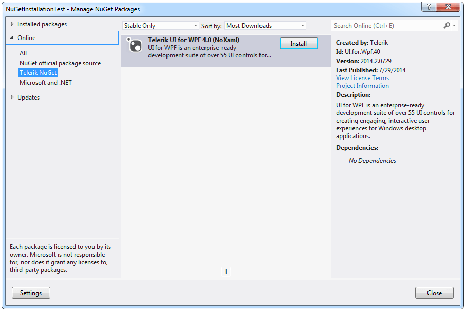 Installing UI for WPF from a NuGet package | Telerik UI for WPF