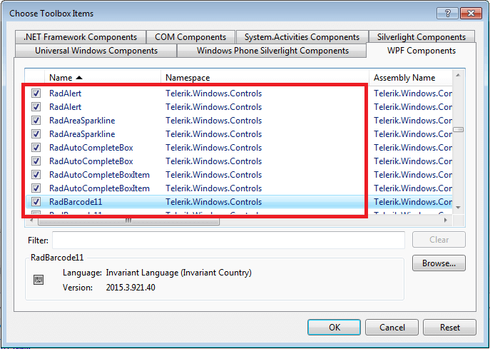 Adding UI for WPF to Visual Studio Toolbox | Telerik UI for WPF