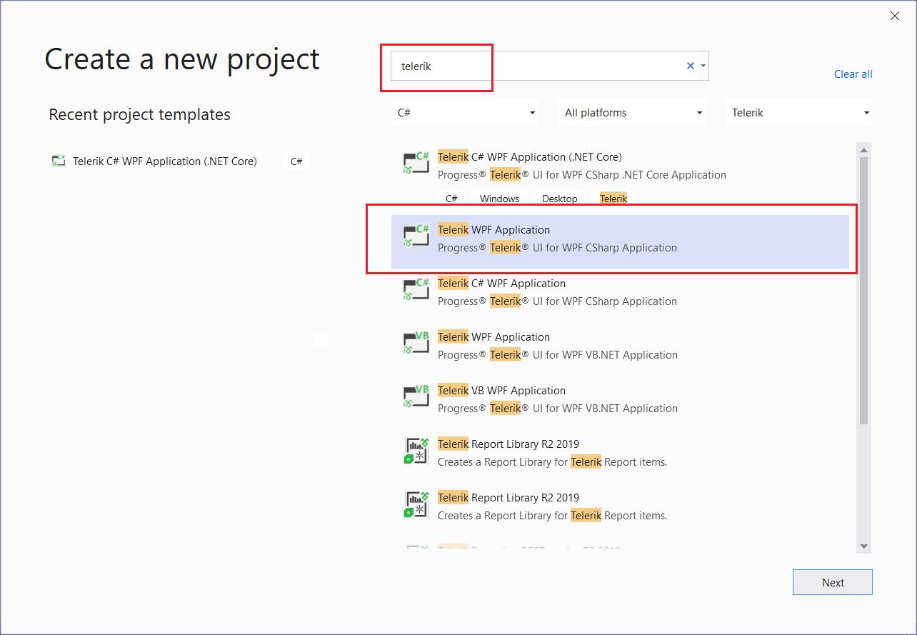 Create Project   Telerik UI for WPF