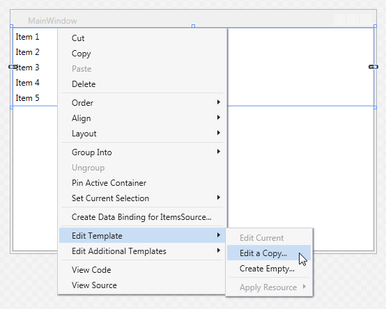 Editing control templates telerik ui for wpf figure 3 visual studio designer context menu maxwellsz