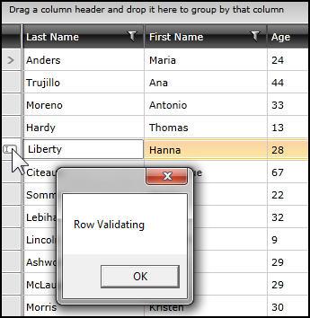 row validating