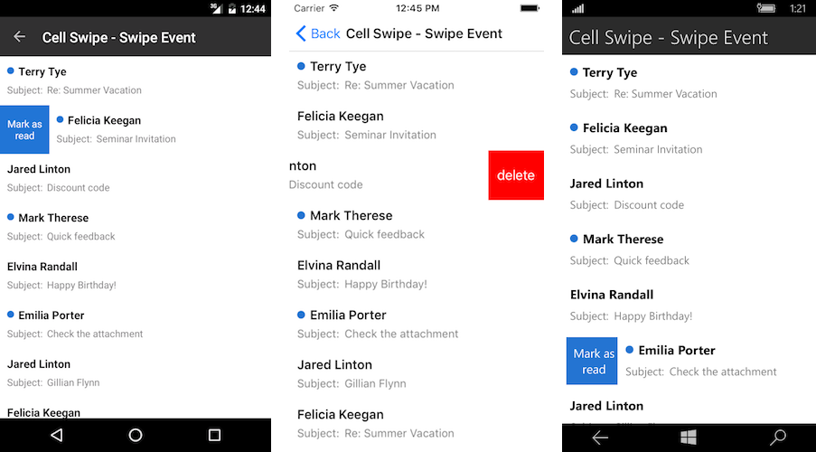Cell Swipe   Telerik UI for Xamarin