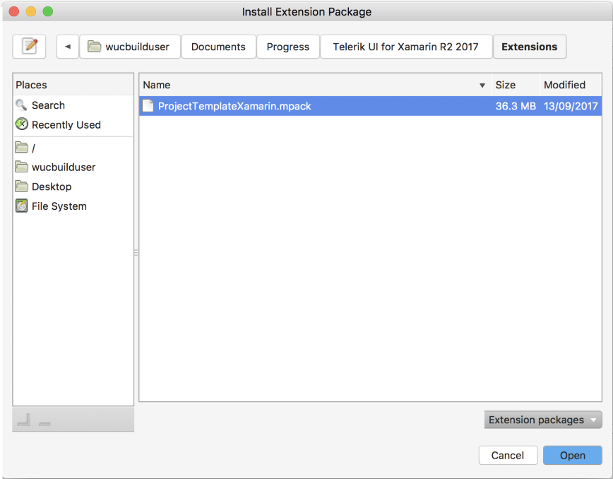Project Wizard for Visual Studio for Mac | Telerik UI for