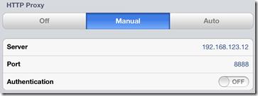 iOS Proxy Settings