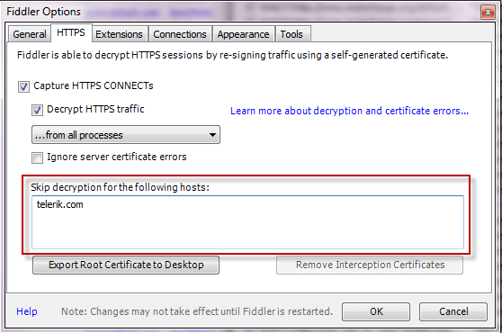 Configure Fiddler to decrypt HTTPS traffic | Progress