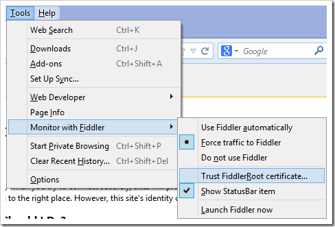 Capture HTTPS traffic from Firefox | Progress Telerik Fiddler