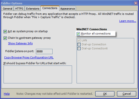 Monitor RAS, VPN, or Dialup Connections | Progress Telerik Fiddler