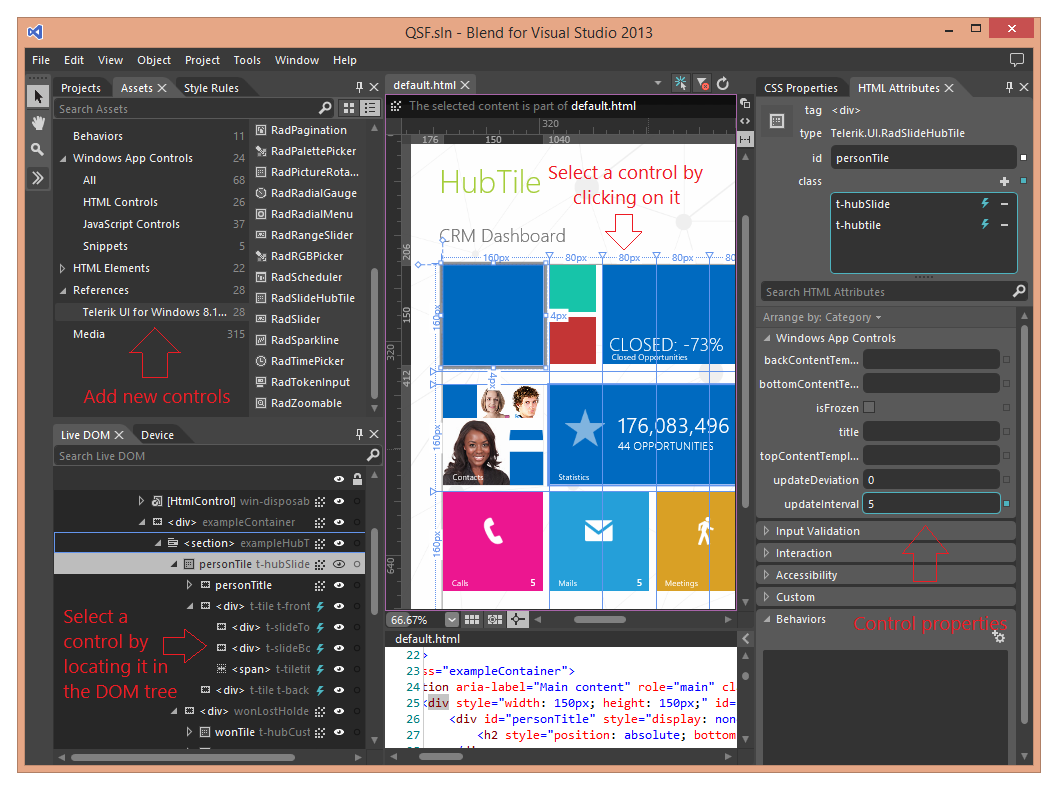 Adding telerik ui for windows 8 html with blend ui for for Telerik window