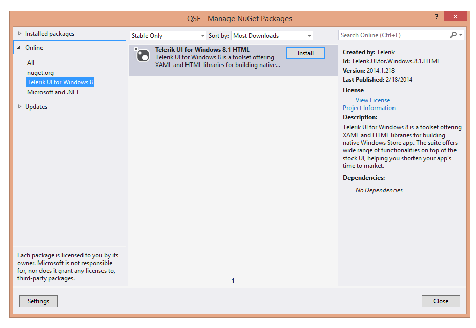 Using a NuGet Package | UI for Windows 8 HTML Documentation