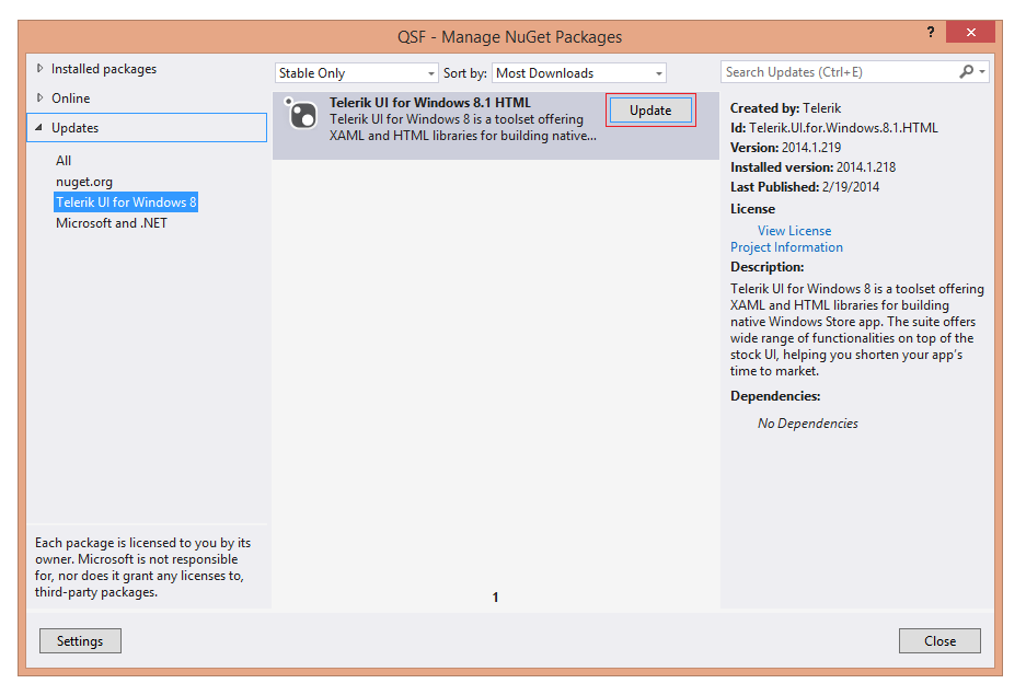 Using a NuGet Package   UI for Windows 8 HTML Documentation