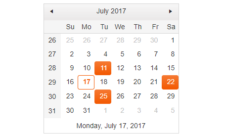 Calendar with multiple dates selected