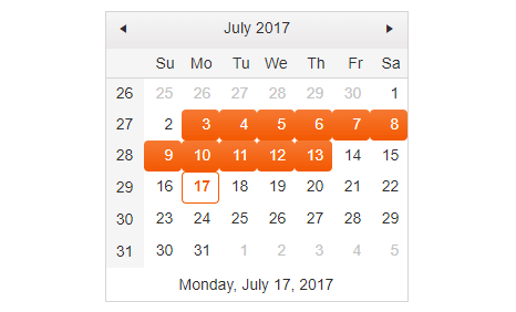 Calendar with range selection