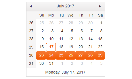 Calendar with week selection