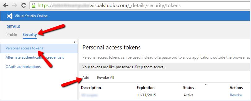 Generating Visual Studio Online Credentials