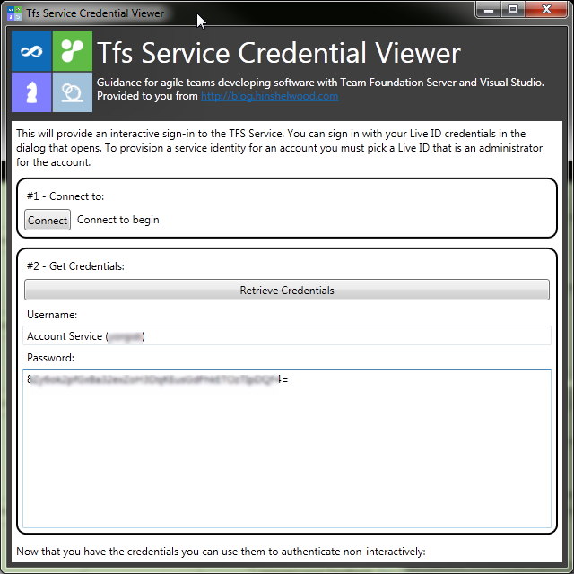 get tfs service credentials