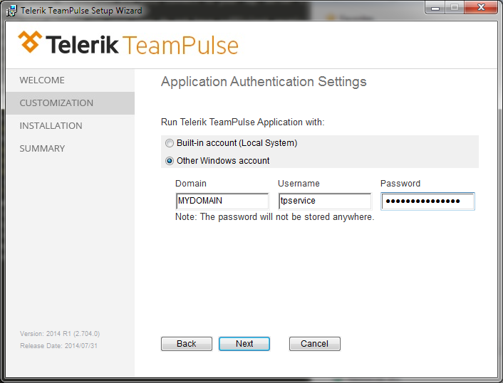 Installation Application Authentication Settings screen
