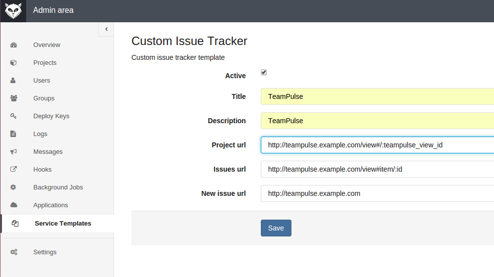 GitLab Custom Issue Tracker Service Template