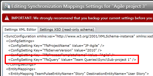 TFS query sync settings