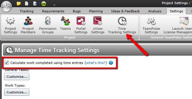 The Time tracking settings screen in TeamPulse