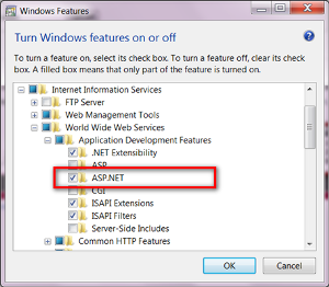 Enabling AspNet in Windows7