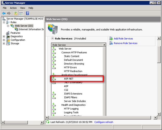 Enabling AspNet in Windows Server 2008