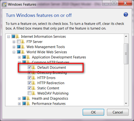 Enabling Default Document in Windows7