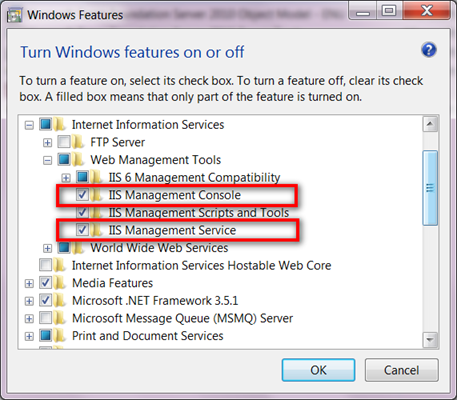 Enabling IIS Management Console or IIS Management Service in Windows7
