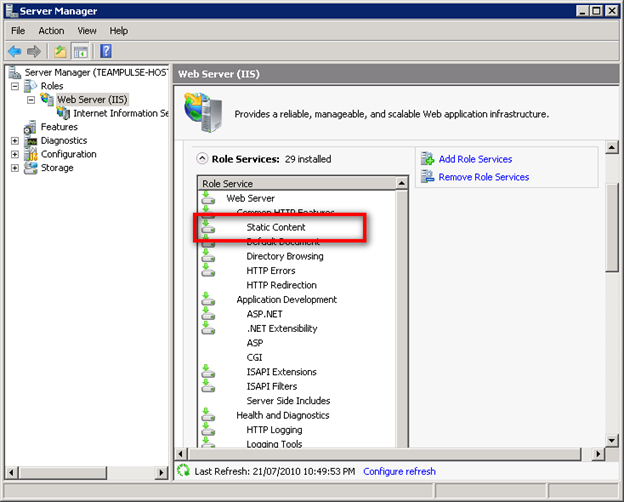 Enabling Static Content in Windows Server 2008