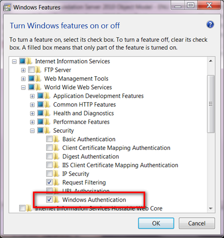 Enabling Windows Authentication in Windows7