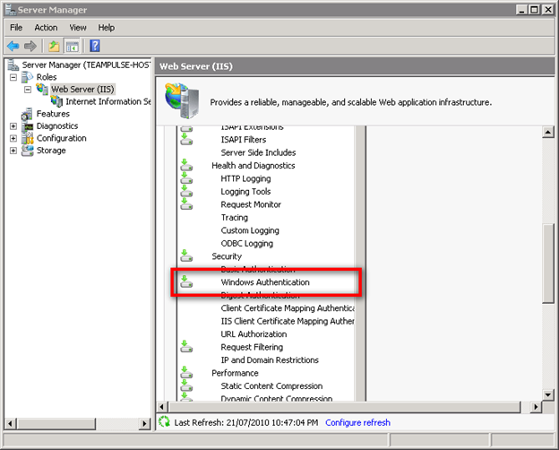 Enabling Windows Authentication in Windows Server 2008