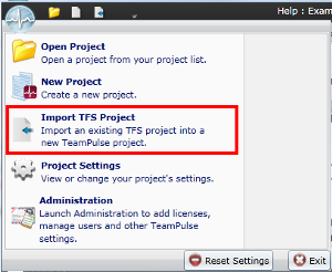Import TFS Project option on the TeamPulse Application Menu